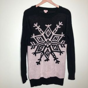 Mossimo Snowflake Longline Sweater Black White